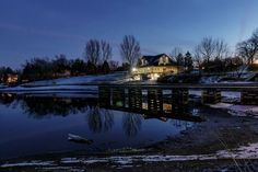Hogsback Park and Rideau River at night by Dave Bremner