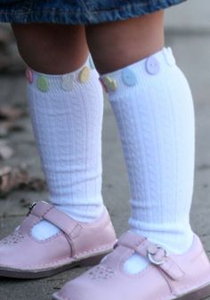 Bunny button knee socks & pink pastel sandals  bless!