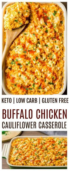 Creamy Buffalo Chicken Cauliflower Casserole - an easy recipe great for those on keto, low carb and/or gluten free diets. This casserole bake is loaded with spicy buffalo chicken sauce, chinks of chicken, and cauliflower rice. All mixed with a delicious b Pollo Buffalo, Buffalo Chicken Bake, Paleo Buffalo Chicken Casserole, Buffalo Chicken Recipes, Healthy Buffalo Chicken, Chicken Recipes No Carbs, Low Carb Chicken Dinners, Easy Recipes With Chicken, Low Carb