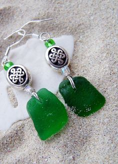 Sea Glass Earrings in Emerald Green with by SilverBeachSeaGlass, $24.00