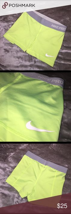 "Nike Pro Women's Compression Shorts Neon yellow Nike spandex with medium grey & light grey waistband, 3"" inseam Nike Shorts"