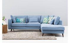 Hoekbank suite blauw stof - 8150242-01