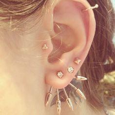 Diamond and rose gold five spike earrings #fivespikestack #pamelalove fan mail