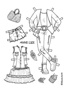 Karen`s Paper Dolls: Anne Lise 2 Paper Doll to Print and Colour. Anne Lise 2 påklædningsdukke til at printe og farvelægge.