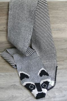 Green 3 Knit Cotton Blend Scarf with Racoon Face Grey Black & White Cute Design  #Green3 #Scarf