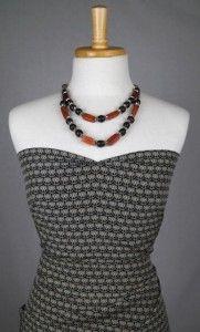 Printed black silk dress fabric