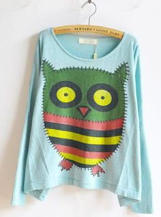 The Owl Sweet Round Neck Blue Sweater$40.00