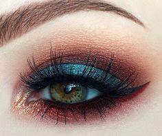 Blue, copper and burgundy eye makeup #eyes #eye #makeup #eyeshadow #bright #dark #bold