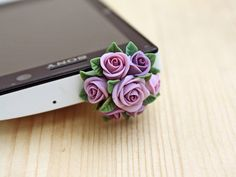 HOLIDAY SALE 20% OFF Cell phone dust plug, phone accessories, handmade phone charm, polymer flower