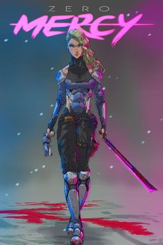 "cyberclays: ""Z E R O M E R C Y - by emperor-smash ""Enter the cyberpunk world of Neo East City, where crime runs rampant in its neon lit streets and cybernetics are the norm. Meet officer Mercy, who shoots first and asks questions later. Cyberpunk 2077, Cyberpunk Kunst, Cyberpunk Girl, Character Concept, Character Art, Concept Art, Marvel Universe, Sci Fi Characters, Women Characters"