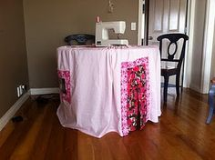 Table Tent - made from a double flat sheet, two floral skirts and windows from bedding packaging. Only thing I had to buy was the cotton thread! :)