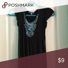 Black Sparkly Shirt Size Kids Large-- black with sparkle detailing around the neck--- super soft and in great condition Shirts & Tops Tank Tops
