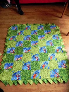 A fussy cut Winnie-the-Pooh quilt made for my nephew Rueben