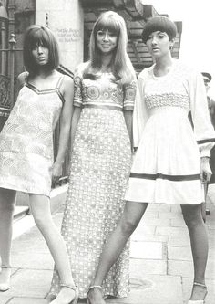 Typical sixties dresses and pale make-up. (Vidal Sasoon hairstyles too).