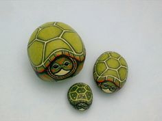 Turtle miniature painted rock dollhouse scale by RockArtiste