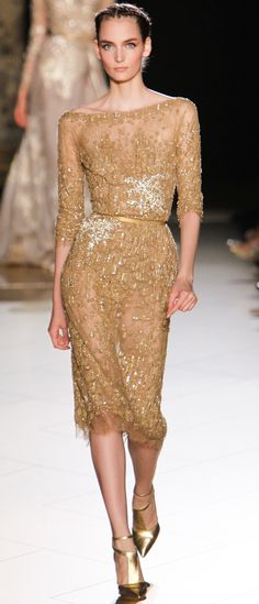 Elie Saab Fall 2012 Couture, Zuzanna Bijoch. (Gold, embroided, knee length dress with lace)