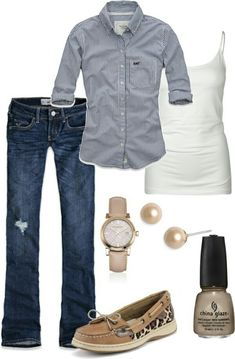 I like the top, fun shoes, accessories to complete it. Not exactly the style of jeans for me, but i like the color