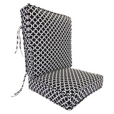 Outdoor Deep Seat & Back Cushion - Black/White Geometric