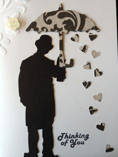Umbrella Man Get Well card- save the hearts from your border punch. In this case raining hearts. Masculine Birthday Cards, Birthday Cards For Men, Masculine Cards, Male Birthday, Umbrella Cards, Umbrella Man, Bee Cards, Men's Cards, Fabric Cards