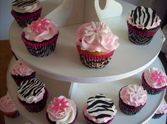 zebra cupcakes for baby shower | Zebra theme and pink baby shower cupcakes | Flickr - Photo Sharing!