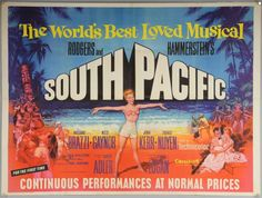 South Pacific (1960's RR) British Quad film poster, musical