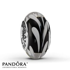 Pandora Glass Charm Black & White Swirl Sterling Silver