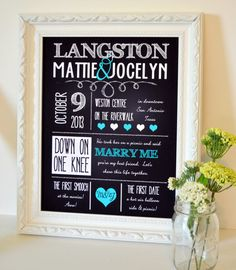 All About Us Chalkboard 8x10 print- Custom Wedding Sign- Chalkboard wedding decoration- first anniversary gift- engagement party decor on Etsy, $12.00