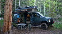 Sportsmobile camping at Maroon Bells campsite in Colorado.