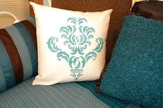 Damask Stenciled Pillow, stencil by iStencils. Stenciled Pillows, Damask Stencil, Pillow Tutorial, Stenciling, Daybed, Creativity, House Ideas, Textiles, Diy Crafts