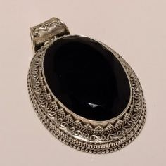 925 SOLID STERLING FINE SILVER FACETED HANDMADE BLACK SPINEL PENDANT 2 INCHES