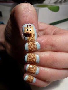 Giraffe nails, so cute!