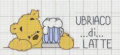 orsetto - ubriaco di latte - bavaglino - bavaglio - punto croce