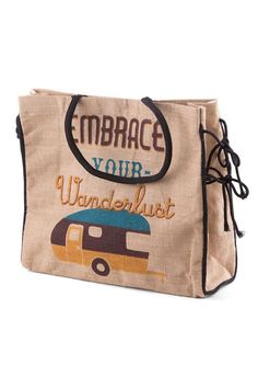 """Time to get away and embrace your wanderlust with this colorful bag made of fine natural jute fibers.    Size: 18"""" W x 15.5"""" H x 4.5"""" D; Magnetic snap   Embrace Your Wanderlust by Pragai Couture. Bags - Totes Canada"""