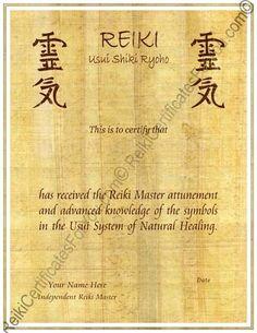 Reiki master certificate template google search reiki pinterest yadclub Gallery