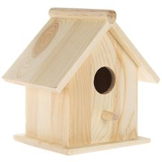 Set of 4 Unfinished Wooden Birdhouses for Crafting, Creating and Decorating Wooden Bird Houses, Bird Houses Painted, Decorative Bird Houses, Bird Houses Diy, Fairy Garden Houses, Traditional Birdhouses, Bird House Plans, Spring Crafts For Kids, Christmas Ornament Crafts