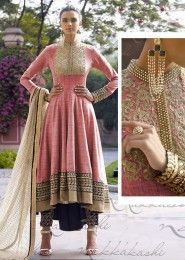 Bridal Wear Jute Silk Pink Antique Work Straight Suit