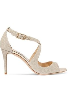 Heel measures approximately 80mm/ 3 inches Champagne glittered leather Buckle-fastening ankle strap Designer color: Platinum Ice  Made in Italy