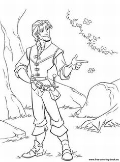 A Beautiful Coloring Page Of Flynn Ryder The Hero Who Helped Rapunzel To Escape Tower Where She Lived