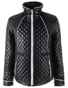 (BLJ01-BLACK) Mens Slim Fit High Neck Front Zipper Pocket Padded Quilting Shine Jacket