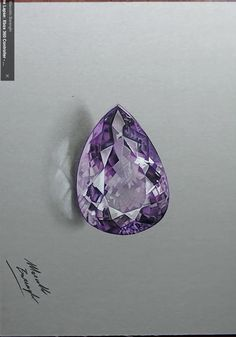 Marcello Barenghi amethyst gemstone drawing in colored pencil