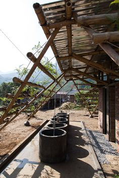 Toigetation by H&P Architects is a bamboo toilet block covered in plants Bamboo Architecture, Tropical Architecture, Architecture Details, Bamboo House, Bamboo Garden, Natural Structures, Outdoor Structures, Ideas Cabaña, Rural Studio