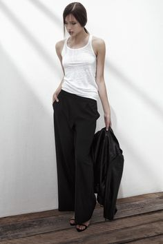 BEACHY HEAD LINEN TANK TOP IN BRIGHT WHITE, ROCKET MAN CREPE TROUSERS IN ANTHRACITE BLACK. www.fallwinterspringsummer.com Fall Winter Spring Summer, Parachute Pants, Trousers, Normcore, Bright, Tank Tops, Collection, Black, Fashion