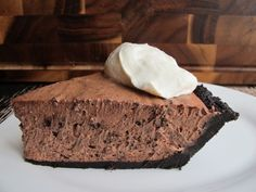 No-Bake Chocolate Kahlua Pie by Serious Eats. Making this pie is pretty straightforward. The filling is just a big mound of Kahlua-chocolate whipped cream studded with chocolate wafer crumbs. Because of the extra liquid from the Kahlua in the filling, however, I added a bit of gelatin to bind it all into a perfect creamy and slice-able consistency. Another tip: whenever I don't actually bake a crumb crust, I always add a tad more melted butter to the ground chocolate wafers (Nabisco Famous…