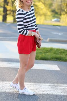 Let It Be Beautiful - Striped Shirt, Red Shorts & White Converse Chucks