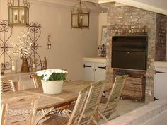 Rustic Braai Area, shappby chic, french, brick finish, covered braai area