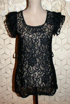 de30b2081106b0 Black Lace Top Long Black Top Boho Goth Top Romantic Goth Ruffled Short  Sleeve Top Black Top Size 2 Size 4 XS Small Women Clothing