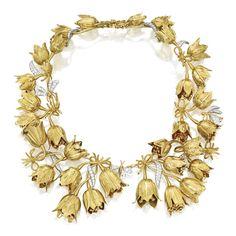 18 Karat gold, platinum and diamond 'Tulip' necklace, Schlumberger for Tiffany