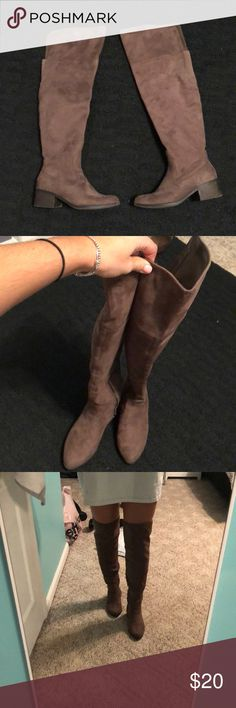 Over the knee brown/Tan boots size 6 Super cute! Size 6 Charlotte Russe Shoes Over the Knee Boots