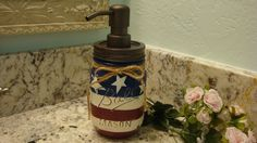 Painted Ball Pint Mason Jar, Soap Lotion Dispenser, Red White and Blue, Kitchen Soap, Bathroom Soap, Bronze Pump, Nickel Pump, Gift Giving by ItWorks4Me on Etsy https://www.etsy.com/listing/231795596/painted-ball-pint-mason-jar-soap-lotion