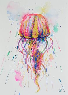 ARTFINDER: Jellyfish by Zaira Dzhaubaeva - Colorful jellyfish. The magic of underwater life always inspires me to paint.  Original watercolor painting on highest quality mould made 100% cotton, aci...